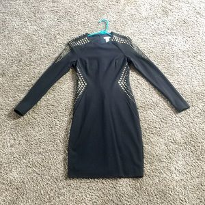 Cache Long Sleeve Black Bodycon Dress